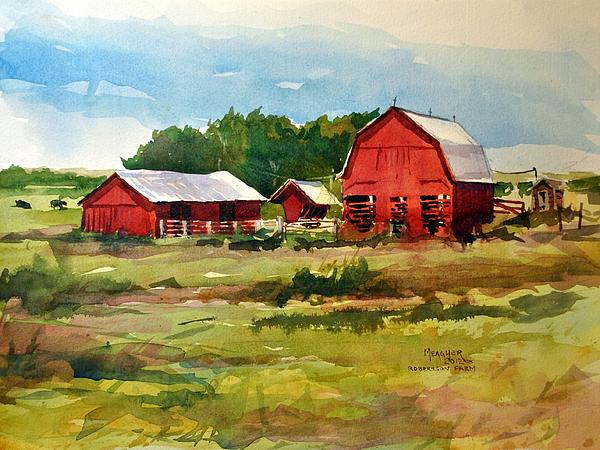 Red Barns Painting - Rural Barns by Spencer Meagher