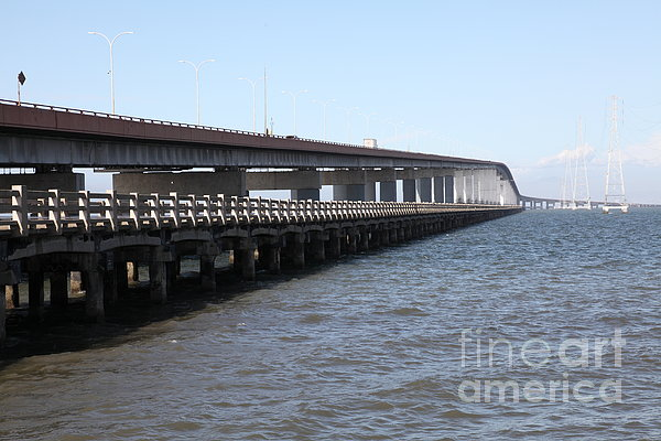 San Mateo Photograph - San Mateo Bridge In The California Bay Area 5d21892 by Wingsdomain Art and Photography