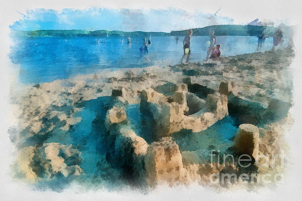 Bathing Suit Digital Art - Sandcastle On The Beach by Amy Cicconi
