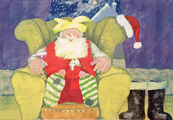 Boots; Socks; Father; Christmas; Armchair; Wine; Glass Painting - Santa Warming His Toes  by David Cooke