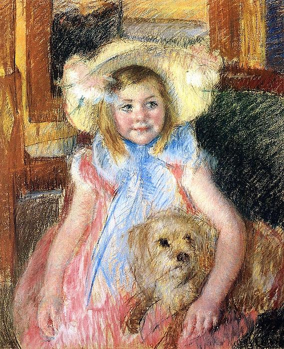 Marry Cassatt Digital Art - Sara Holding Her Dog by Marry Cassatt