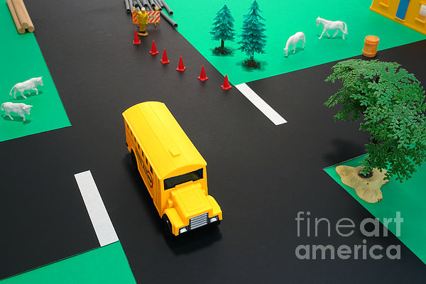 School Photograph - School Bus School by Olivier Le Queinec