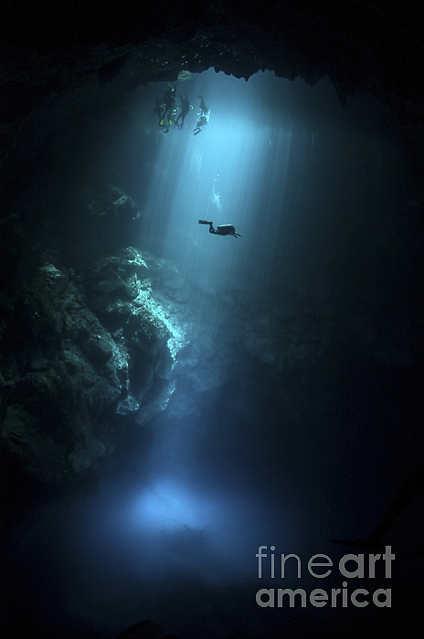 Scuba Diver Descends Into The Pit Photograph  - Scuba Diver Descends Into The Pit Fine Art Print