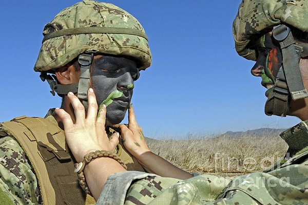 Military Photograph - Seaman Has His Face Painted To Help by Stocktrek Images