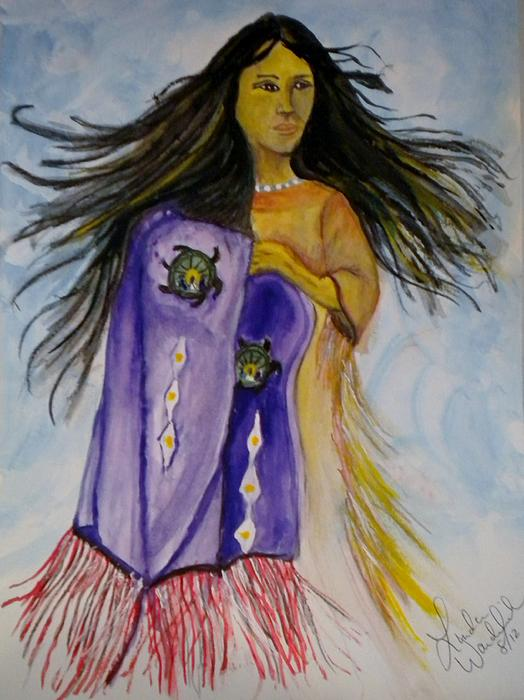 Native American Woman Painting - Shawl Dancer by Linda Waidelich