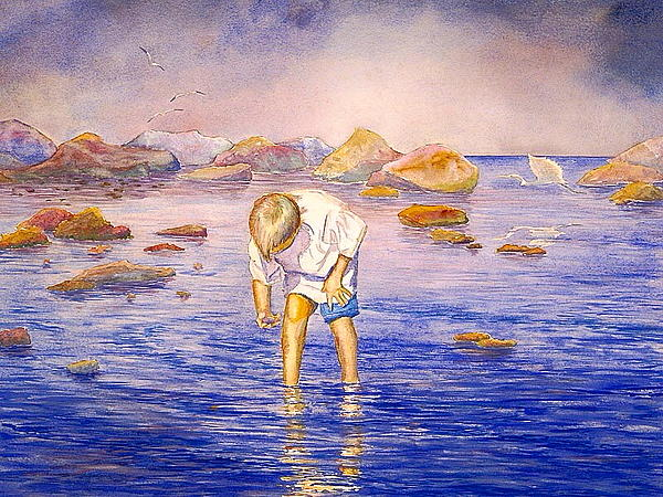 Seascape Painting - Shell Collecting by AnnaJo Vahle