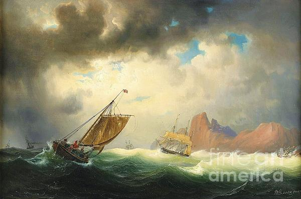 Pd Painting - Ships On Stormy Ocean by Pg Reproductions