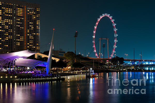 Singapore Photograph - Singapore Flyer At Night by Rick Piper Photography