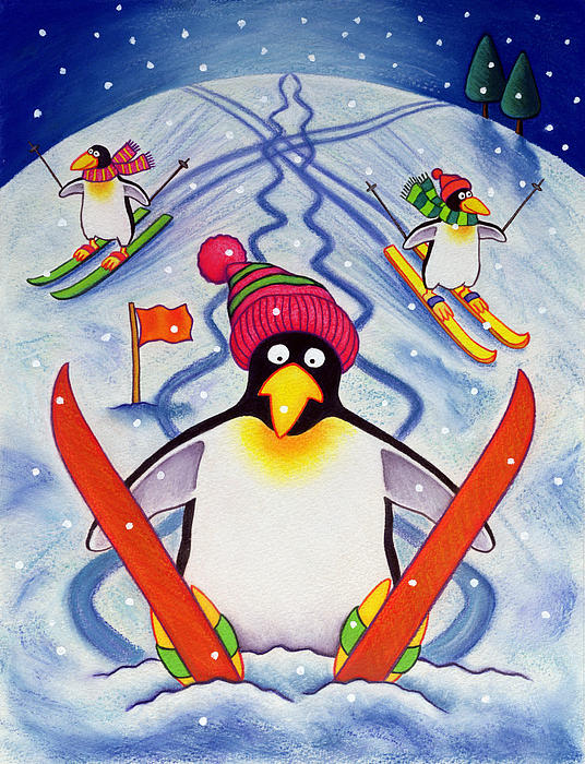 Winter; Snow; Penguin; Ski; Skis; Disaster; Accident; Pole; Wooly Hat; Pom-pom; Flag; Fall; Mountain Painting - Skiing Holiday by Cathy Baxter