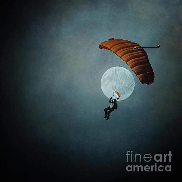 Skydivers Moon Photograph  - Skydivers Moon Fine Art Print
