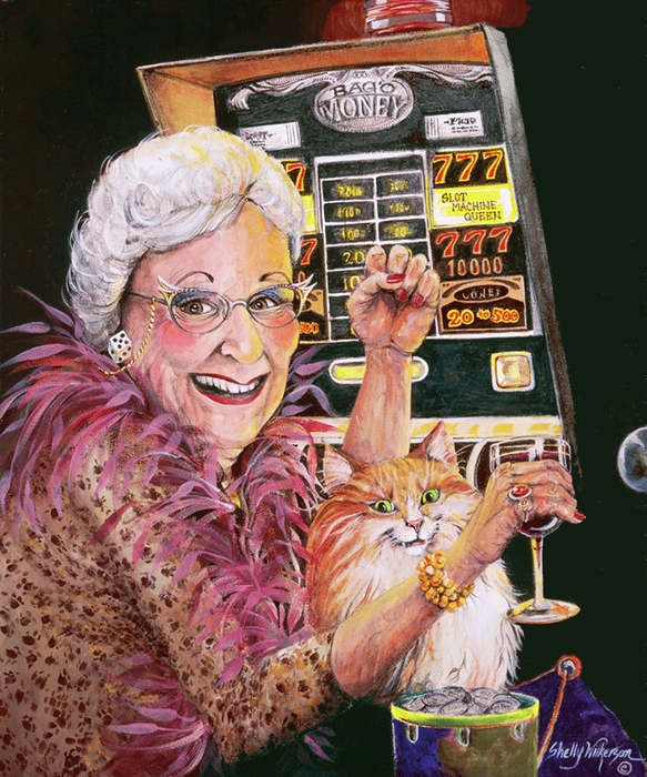 Slot Machine Queen Painting  - Slot Machine Queen Fine Art Print