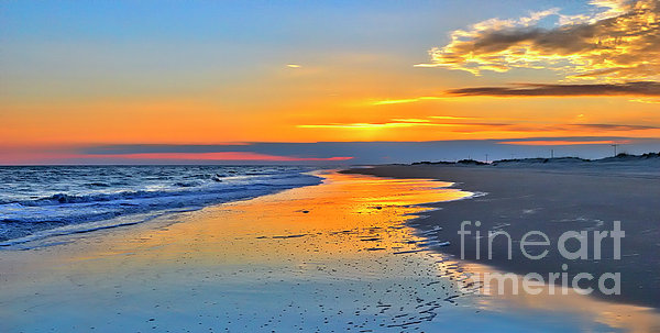 Outer Banks Painting - Smooth Sunset On Ocracoke Outer Banks by Dan Carmichael