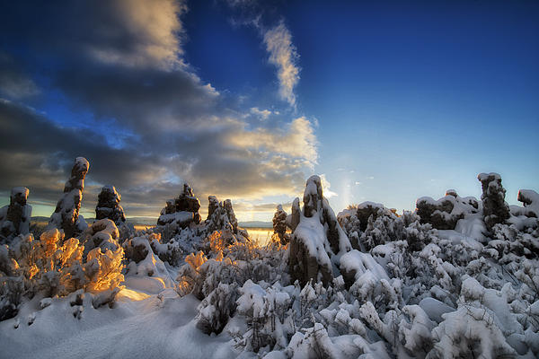 Calcium Carbonate Photograph - Snow On Tufa At Mono Lake by Peter Dang