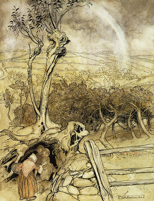 British Artist Painting - So Nobody Can Quite Explain Exactly Where The Rainbows End by Arthur Rackham