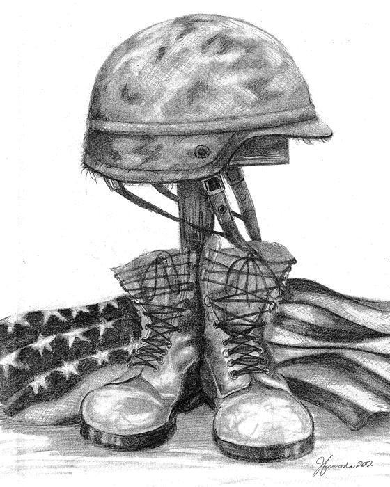 Cross Drawing - Soldiers Cross Remember The Fallen by J Ferwerda