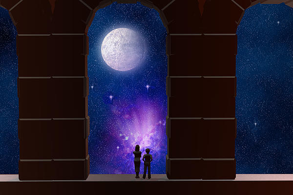 Arches Digital Art - Somewhere In Time And Space by Carol and Mike Werner