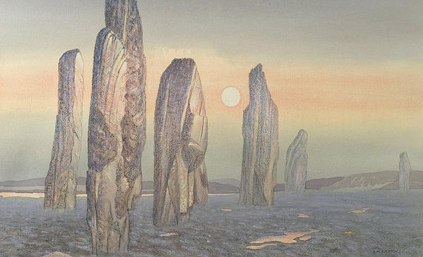 Landscape; Outer Hebrides; Ancient; Stone Circle; Monument; Sunset;mist; Neolithic Painting - Spirits Of Callanish Isle Of Lewis by Evangeline Dickson