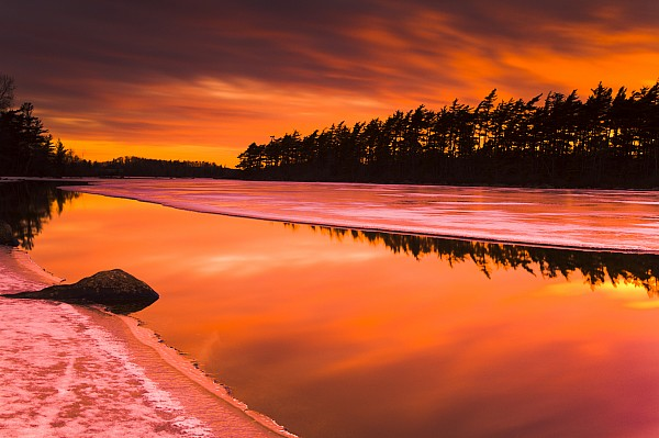 Light Photograph - Spring Thaw Sunset, Rocky Lake, Nova by Irwin Barrett