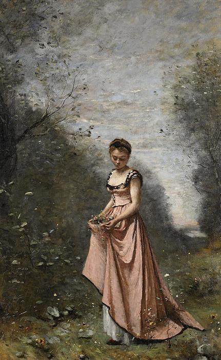 Female; Young Woman; Girl; Walking; Rural; Countryside; Woods; Collecting; Flowers; Dress; Serene; Tranquil; Peaceful; Youth; Youthful; Adolescent; Spring; Springtime Painting - Springtime Of Life by Jean Baptiste Camille Corot