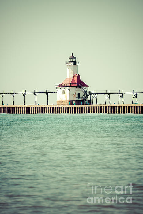 America Photograph - St. Joseph Lighthouse Vintage Picture  by Paul Velgos