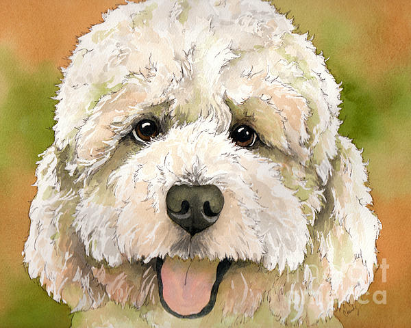 Poodle Painting - Standard White Poodle Dog Watercolor by Cherilynn Wood