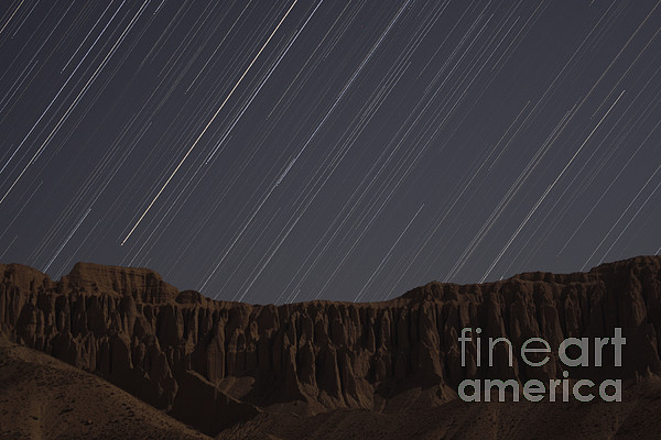 Horizontal Photograph - Star Trails Above Martians Valley by Amin Jamshidi