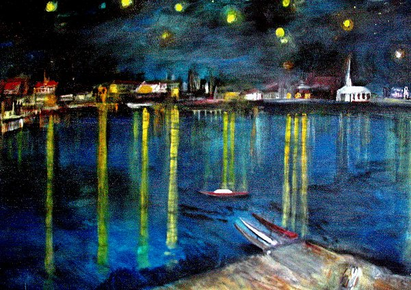 Starry Night Over The Rhone River Painting  - Starry Night Over The Rhone River Fine Art Print