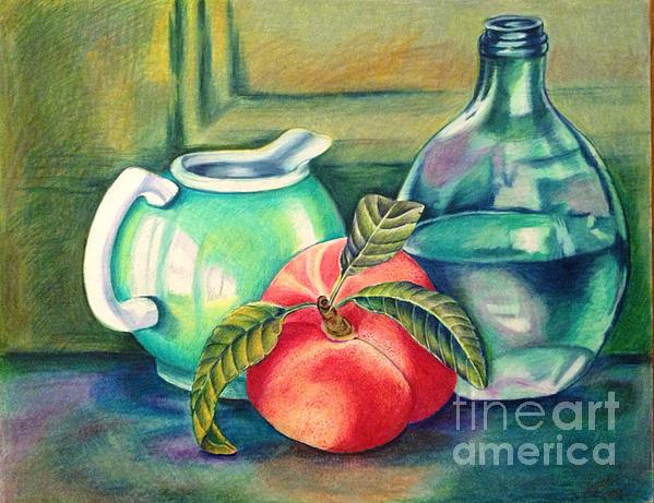 Still Life Drawing - Still Life Of Peach Pitcher And Decanter Of Water by Julia Gatti