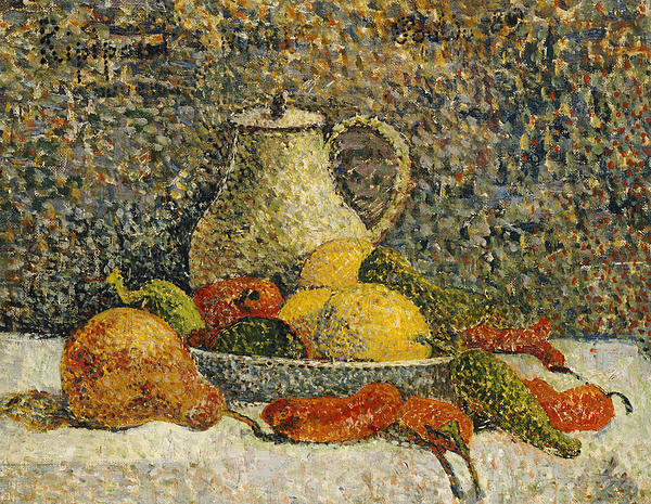 Post-impressionist; Post-impressionism; Jug; Bowl; Fruit Painting - Still Life by Paul Gaugin