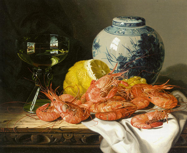 Birds Nest Butterfly And Fruit Digital Art - Still Life With Prawns And Lemon by Edward Ladell