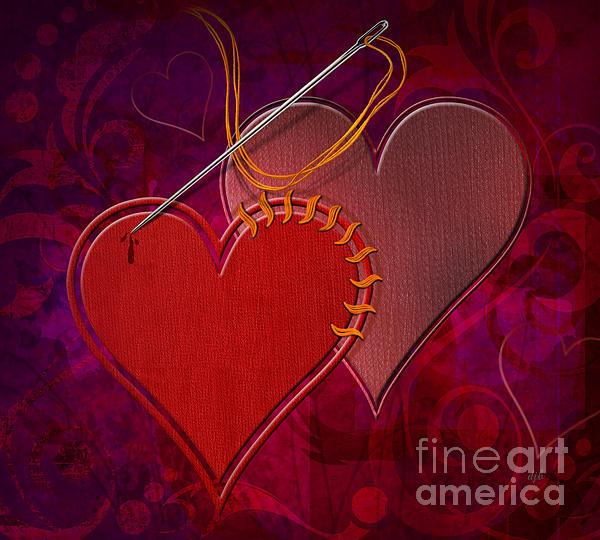 Heart Digital Art - Stitched Hearts by Bedros Awak