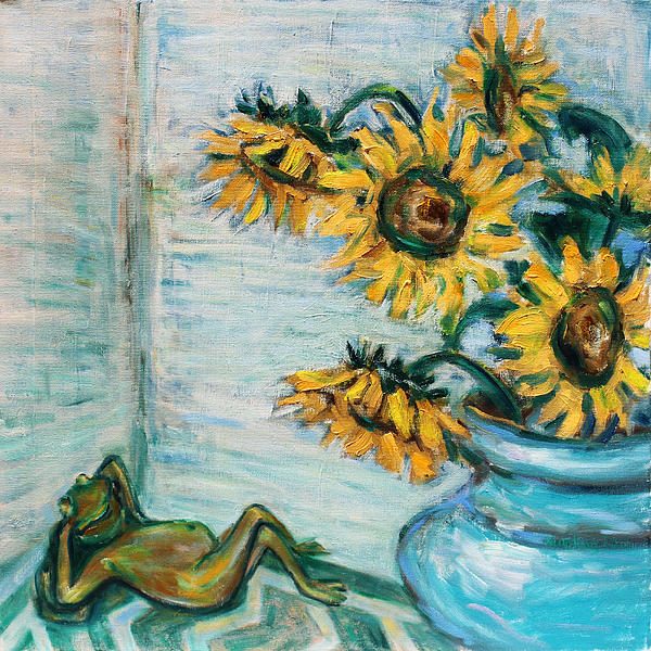 Xueling Zou - Sunflowers and Frog