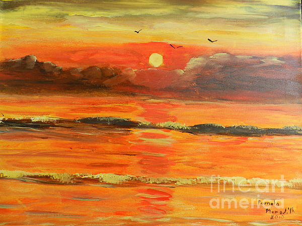 Sunrise Over The Ocean Painting  - Sunrise Over The Ocean Fine Art Print