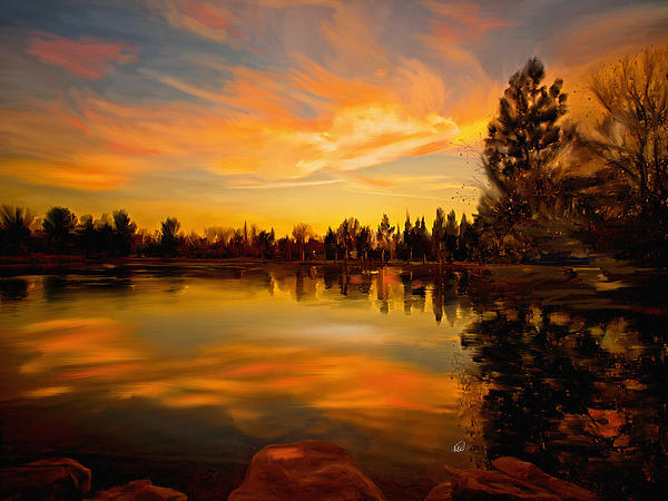 Sunset Over The Lake Painting
