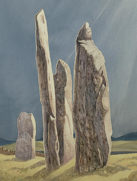 Legend Painting - Tall Stones Of Callanish Isle Of Lewis by Evangeline Dickson