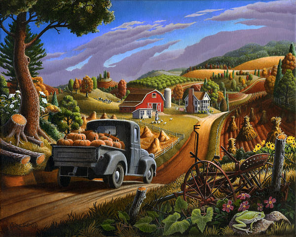 Walt Curlee - Thankgiving Rural Country Farm Life Halloween Pumpkins Landscape Folk Art Pumpkin Americana scene
