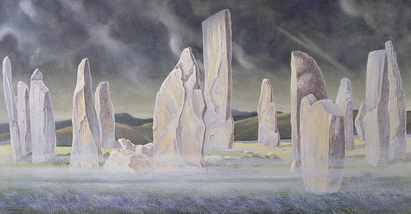 Landscape; Standing Stone; Circle; Neolithic Monument; Ancient; Outer Hebrides; Mist; Night; Moonlight; Ghostly; Celtic Painting - The Callanish Legend Isle Of Lewis by Evangeline Dickson
