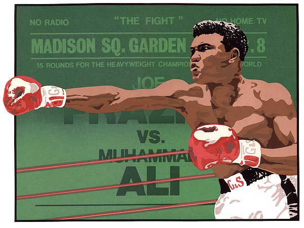 Mohammed Ali Silkscreen Drawing - The Champ by Anne Gifford