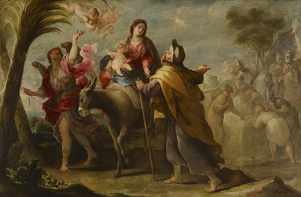 The Painting - The Flight Into Egypt by Jose Moreno