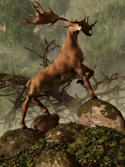 The Irish Elk Digital Art  - The Irish Elk Fine Art Print