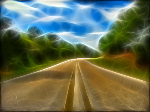Road Digital Art - The Journey by Wendy J St Christopher