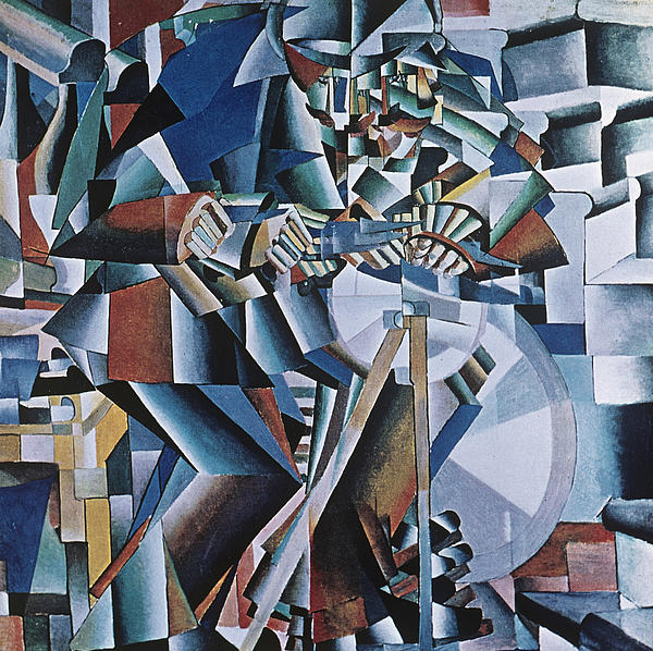 Knife Grinder; Sharpening; Machine Age; Abstract; Abstraction; Geometric; Geometry; Dynamic; Dynamism; Cubo-futurist; Cubo-futurism; Suprematist; Suprematism; Contemporary & Modern Art Painting - The Knife Grinder by Kazimir  Malevich
