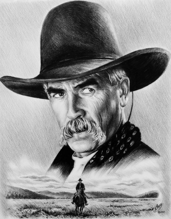 Sam Elliot Drawing - The Lone Rider  Wash Effect by Andrew Read