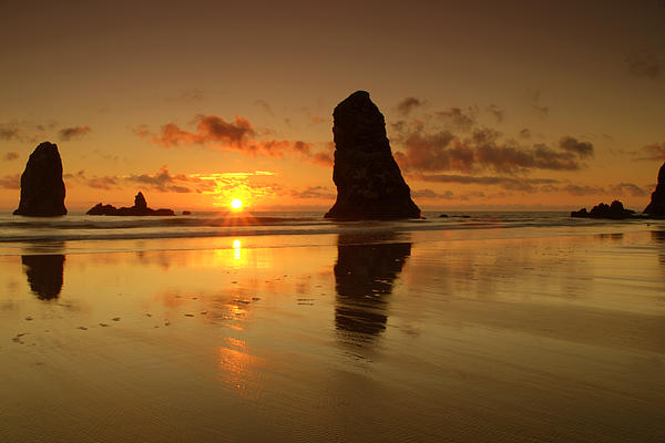 Brian Harig - The Needles At Haystack - Cannon Beach Sunset