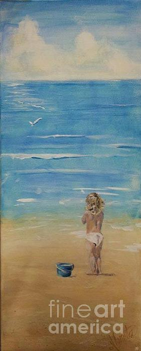 Little Girl On The Beach Painting - The Seagulls by Almeta LENNON