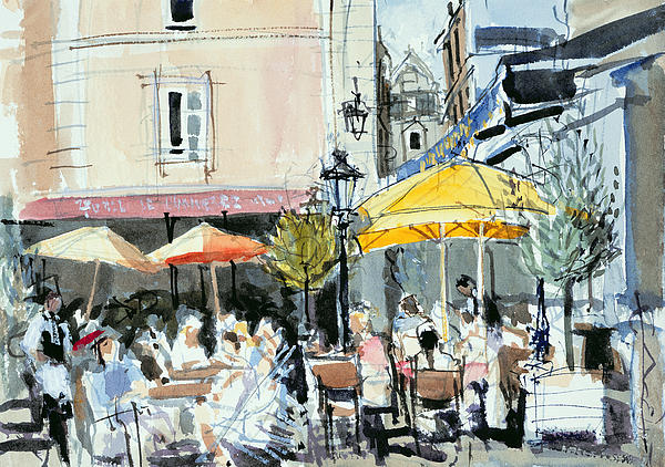 Cafe; Restaurant; French; Open Air; Dining; Eating; Al Fresco; Courtyard; Tables; Umbrellas; Brittany; Shade; Parasols; Terrace Painting - The Square At St. Malo by Felicity House