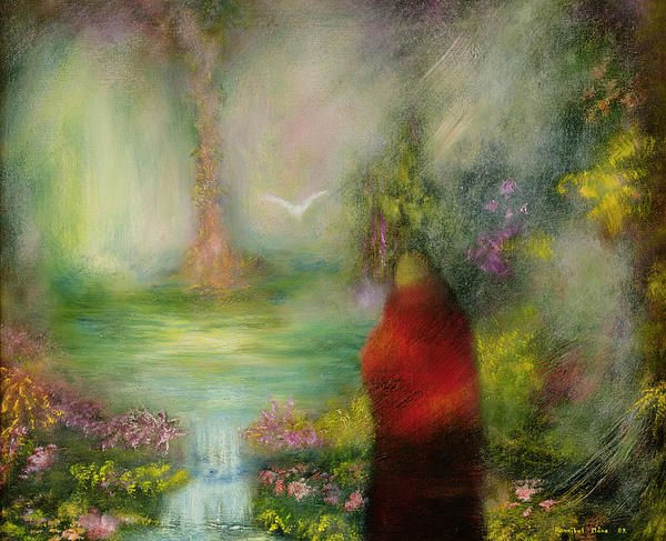 Dream; Dove; Priest; Abstract; Waterfall; Buddhist; Buddhism Painting - The Tibetan Monk by Hannibal Mane