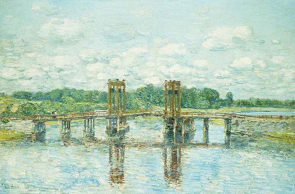American Impressionism; American Impressionist; American Painting; Architectural; Architectural Feature; Architecture; Blue; Bridge; Civil Engineering;color; Connection; Connected; Countryside;day Painting - The Toll Bridge New Hampshire by Childe Hassam