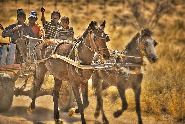 Warm Photograph - This Is Namibia No. 23 - Going To Town The Old Fashioned Way by Paul W Sharpe Aka Wizard of Wonders