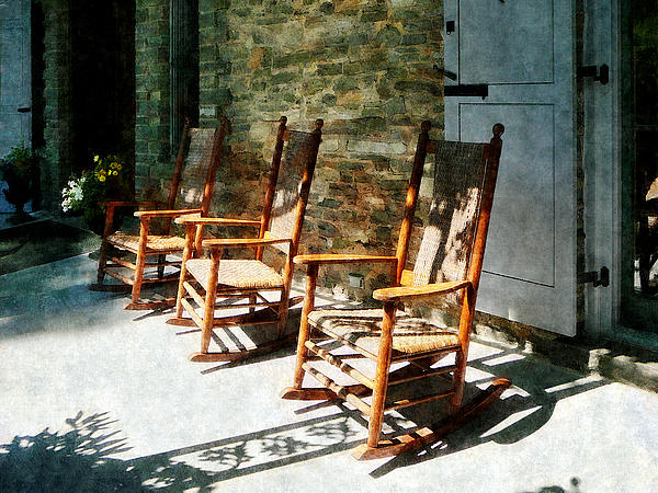 Three Wooden Rocking Chairs On Sunny Porch Photograph  - Three Wooden Rocking Chairs On Sunny Porch Fine Art Print
